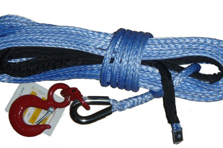 Трос кевларовый синтетический T-Max 24м х9,4мм х8,6т с коушами и крюком Короча